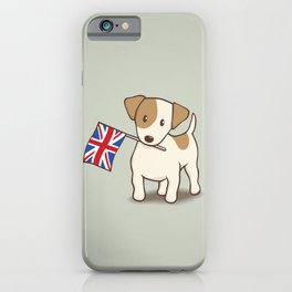 Jack Russell Terrier and Union Jack Illustration iPhone Case