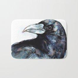 Raven, Watercolor Bath Mat