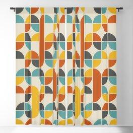 1970s Colors Mid Century Modern Geometric Pattern  Blackout Curtain