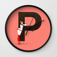 helvetica Wall Clocks featuring Patricia & Helvetica by ChicksAndType