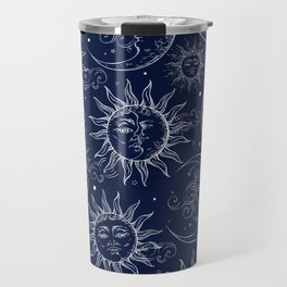 Blue Magic Celestial Sun Moon Stars Travel Mug