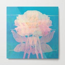 Rotation - Botanical Surrealism Blue Beige Metal Print