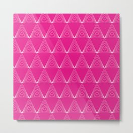 Simple Geometric Triangle Pattern- White on Pink - Mix & Match with Simplicity of life Metal Print