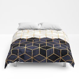 White & Navy Cubes Comforters