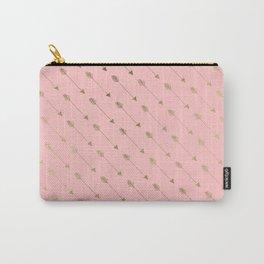 Bohemian elegant faux gold coral modern arrow pattern Carry-All Pouch