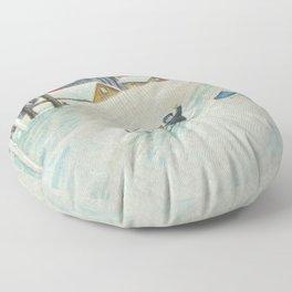 Happy vintage winter sledders Floor Pillow