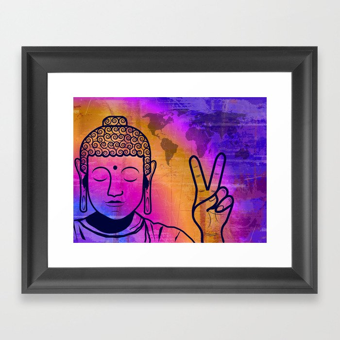 Buddha World Peace Framed Art Print by cr8tv | Society6