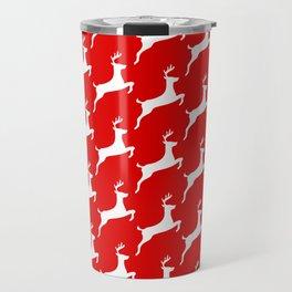 Red & White Reindeer Pattern Travel Mug