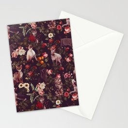 Cat and Floral Pattern Stationery Cards