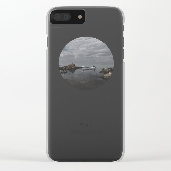 Lonely boat on the sea Clear iPhone Case