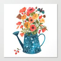 oana befort Canvas Prints featuring Garden Flowers by Oana Befort