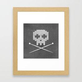 Knitted Skull (White on Grey) Framed Art Print
