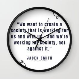 21  |  Jaden Smith Quotes | 190904 Wall Clock