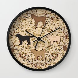 Labs of chocolate, blonde, and black Wall Clock