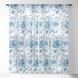 Flower bouquet with poppies - blue Sheer Curtain