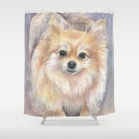 pomeranian Shower Curtains featuring Pomeranian Watercolor Pom Painting by Olechka