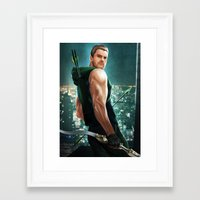 green arrow Framed Art Prints featuring Arrow by Meder Taab