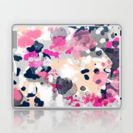 Nico - Abstract painting in modern fresh colors navy, mint, pink, cream, white, and gold Laptop & iPad Skin