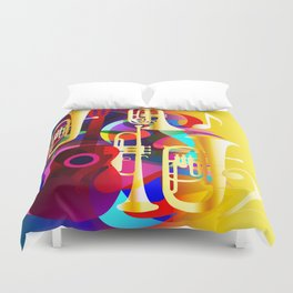 Colorful music instruments with guitar, trumpet, musical notes, bass clef and abstract decor Duvet Cover