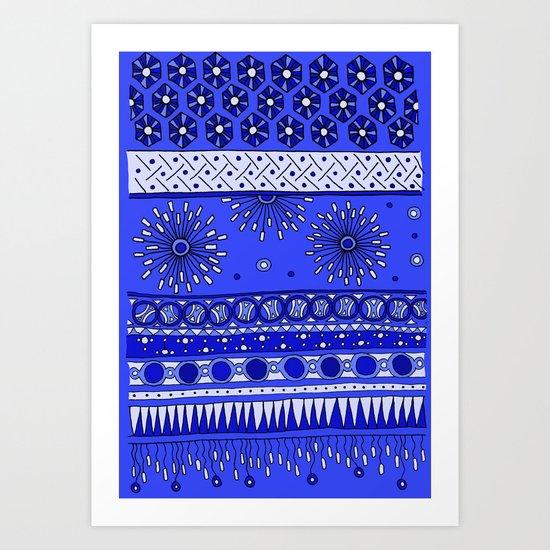 Yzor pattern 007-2 blue Art Print