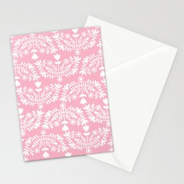 Folk Pattern Pink Stationery Cards