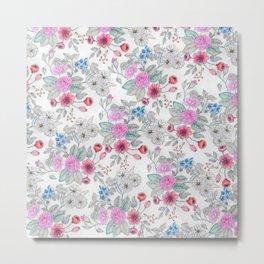 Cute watercolor hand paint floral pattern Metal Print