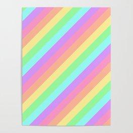 Pastel Rainbow Diagonal Stripes Poster