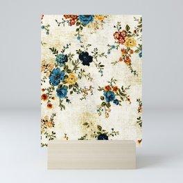 Cream Blue Yellow Floral Mini Art Print
