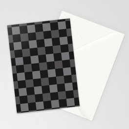 Black & Grey Checkered Plaid Squares Stationery Cards