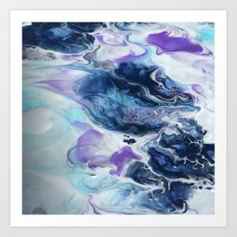 Navy Blue, Teal and Royal Purple Marble Art Print
