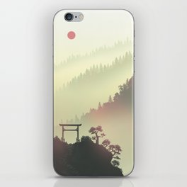Red sunset in the Japan mountains iPhone Skin