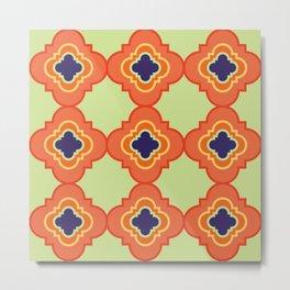 Quatrefoil - orange and blue Metal Print