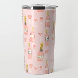 Rose all day - rose, wine, champagne, lady art, trendy fun girls art Travel Mug