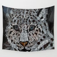 snow leopard Wall Tapestries featuring Snow Leopard by ira gora