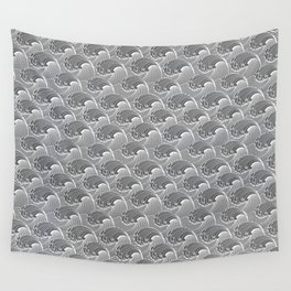 Vintage Japanese Waves, Gray / Grey and White Wall Tapestry