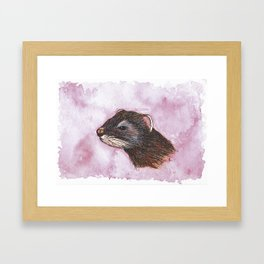 Original Watercolour and Ink Polecat Framed Art Print