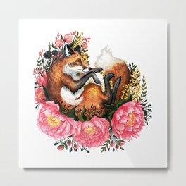 Flora and Fauna Fox Metal Print