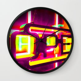 night light with open neon sign in pink yellow green background Wall Clock