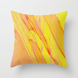Spalted Yellow - Abstract Yellow Painting Throw Pillow