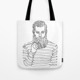 Beard Man with a Pipe Tote Bag