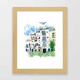 Dalt Vila houses from Ibiza - Calle de la Carrossa Framed Art Print