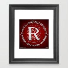 Joshua 24:15 - (Silver on Red) Monogram R Framed Art Print