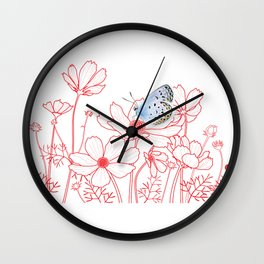 Cosmos and Butterfly Wall Clock