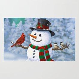Cute Happy Christmas Snowman with Birds Rug