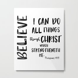 All things through Christ Bible Verse Typography Metal Print