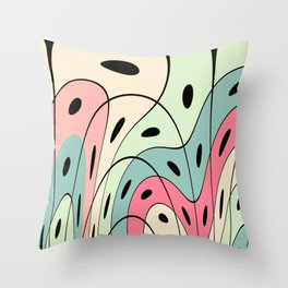 Wavy pastel shapes Throw Pillow