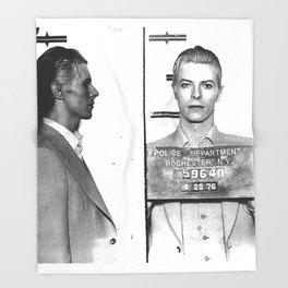 Bowie, David Mugshot (1976) Rochester, N.Y. Throw Blanket