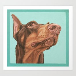 Regal Doberman Portrait, Red Dobie Dog Artwork, Doberman Pinscher Painting Art Print