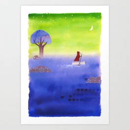 Crossing The Lake Art Print