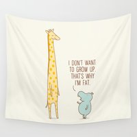 ilovedoodle Wall Tapestries featuring I don't want to grow up by I Love Doodle